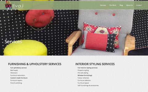 Screenshot of Services Page evaj.com.au - Services | Eva J Interiors & Upholstery - captured Oct. 2, 2014