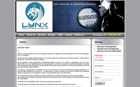 Screenshot of Jobs Page detectiveagencyhyderabad.com - Private investigation Agency in hyderabad, Detectives in Hyderabad, Pre Matrimonial investigators in hyderabad - captured Oct. 27, 2014