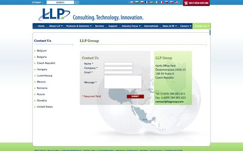 Screenshot of Contact Page llpgroup.com - Contact Us - LLP Group - Providing a range of innovative, imaginative, and pragmatic IT solutions locally, regionally, and globally - captured Oct. 1, 2014