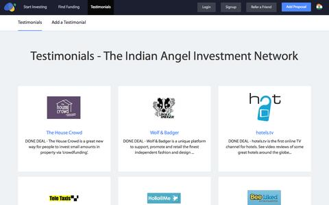 Screenshot of Testimonials Page investmentnetwork.in - Testimonials - The Indian Angel Investment Network – Indian Investment Network, India - captured Oct. 26, 2015