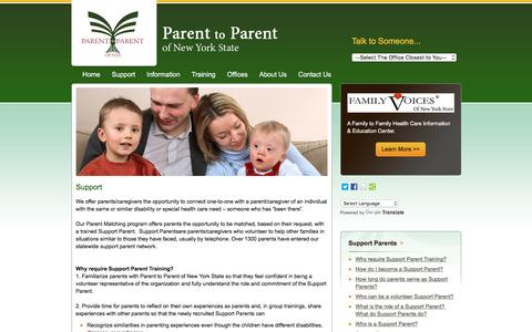 Screenshot of Support Page parenttoparentnys.org - Parent to Parent of New York State - captured June 20, 2016