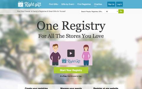 Screenshot of Home Page rightgift.com - Create Wishlists and Registries from any website - RightGift - captured Jan. 11, 2016