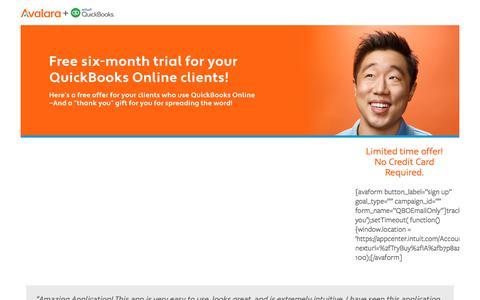 Screenshot of Trial Page avalara.com - QBO Free Trial Pro - Avalara Offers - captured Sept. 22, 2017