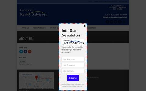 Screenshot of About Page comrealty.net - About Us - captured Sept. 28, 2018