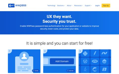 Screenshot of Developers Page wwpass.com - WWPass for Developers - captured Dec. 29, 2018