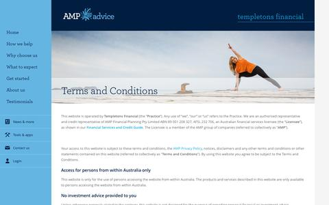 Screenshot of Terms Page amp.com.au - Terms and conditions - captured Dec. 16, 2016
