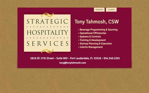 Screenshot of Home Page tonytahmosh.com - Strategic Hospitality Services - captured Oct. 7, 2014
