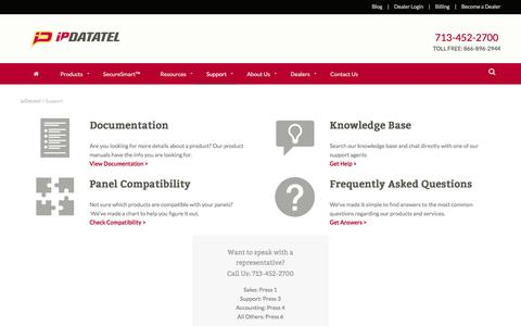 Screenshot of Support Page ipdatatel.com - ipDatatel Tech Support | ipDatatel - captured April 6, 2017