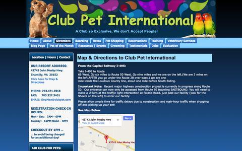 Screenshot of Maps & Directions Page clubpet.com - Map & Directions to Club Pet International | Club Pet International - captured Oct. 2, 2014