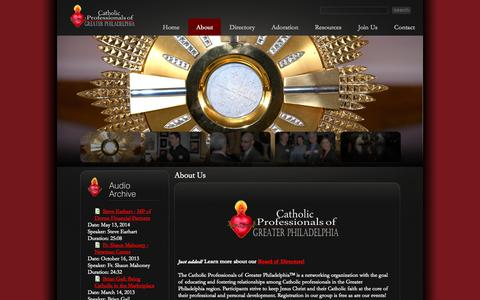 Screenshot of About Page catholicpros.com - About Us | Catholic Professionals of Greater Philadelphia™ - captured Oct. 27, 2014