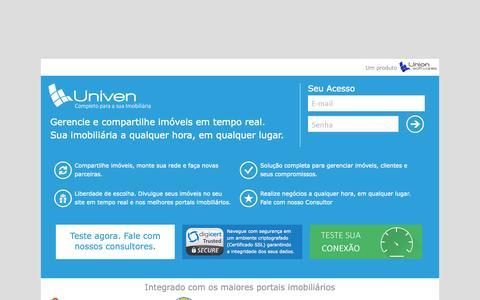 Screenshot of Home Page univenweb.com.br - Sistema Imobiliário Univen Web - A sua Imobiliária a qualquer hora em qualquer lugar. - captured June 22, 2015
