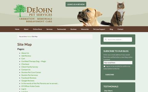 Screenshot of Site Map Page dejohnpetservices.com - Site Map - DeJohn Pet Cremation - Pet Loss Support and Crematory - Ohio - captured Nov. 6, 2018