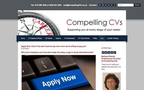 Screenshot of Blog compellingcvs.co.uk - Compelling CVs - Professional CV Writing Blog about Job Seeking Interview Skills Career Planning - captured Sept. 30, 2014