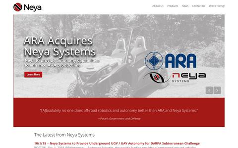 Screenshot of Home Page neyasystems.com - Neya Systems LLC - Leaders in Unmanned Systems - captured Nov. 15, 2019