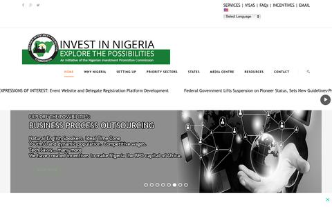 Screenshot of Home Page invest-nigeria.com - Invest in Nigeria, Africa's Largest Investments Economy - captured Nov. 2, 2017