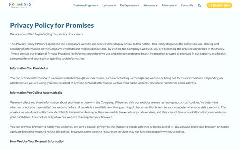 Privacy Policy for Promises