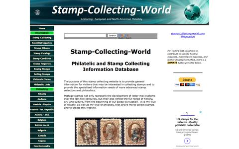 Screenshot of Home Page stamp-collecting-world.com - Stamp Collecting World - captured Feb. 24, 2018