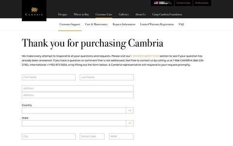 Screenshot of Support Page cambriausa.com - Customer Support | Cambria Quartz Stone Surfaces - captured Nov. 4, 2016