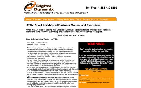 Screenshot of Home Page digital-dynamix.com - Welcome to Digital Dynamix - Your Mid-Michigan IT Service for Networking and Telephone Technology - captured Oct. 5, 2014