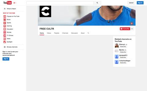 Screenshot of YouTube Page youtube.com - FREE CULTR  - YouTube - captured Oct. 22, 2014
