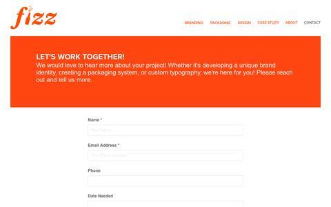 Screenshot of Contact Page hellofizz.com - Logos & Graphic Design | Cleveland, OH - Contact - captured Oct. 10, 2018