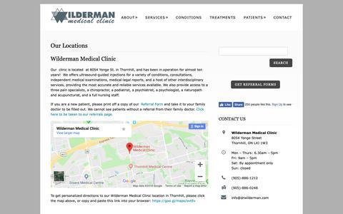 Screenshot of Locations Page drwilderman.com - Wilderman Medical Clinic Locations in OntarioWilderman Medical Clinic – Pain Clinic in Toronto Area - captured Nov. 3, 2018