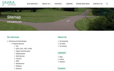 Screenshot of Site Map Page javra.com - Sitemap - Javra Software Pvt. Ltd. - captured Sept. 25, 2018