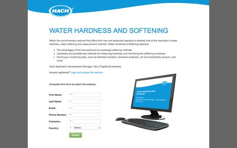Screenshot of Landing Page hach.com - 1532-WBNR-DW Hardness & Softening-US-en.15-US-en-Landing Page - captured Aug. 18, 2016