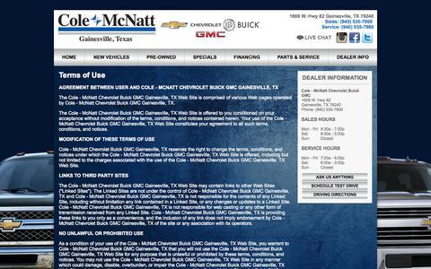 Screenshot of Terms Page colemcnatt.com - Cole-McNatt Chevrolet Buick GMC   Gainesville,TX Car Dealer - captured Sept. 26, 2015