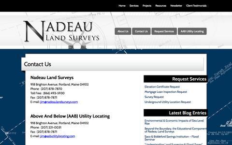 Screenshot of Contact Page Maps & Directions Page nadeaulandsurveys.com - Nadeau Land Surveys | Contact Us - captured Oct. 26, 2014