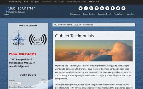 Screenshot of Testimonials Page clubjetcharter.com - Club Jet Testimonials - Club Jet Charter - captured Sept. 30, 2014