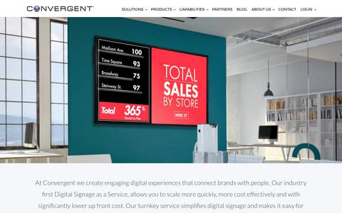 Screenshot of Home Page convergent.com - Convergent Digital Signage as a Service & Digital Experiences - captured Aug. 18, 2017