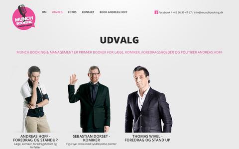 Screenshot of Home Page munchbooking.dk - Munch Booking - underholdning til fest - captured Oct. 18, 2018