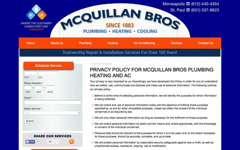 Screenshot of Privacy Page mcquillanbros.com - Privacy Policy - Plumber Customer Privacy Minneapolis / St. Paul | McQuillan Bros Plumbing Heating and AC - captured March 2, 2016