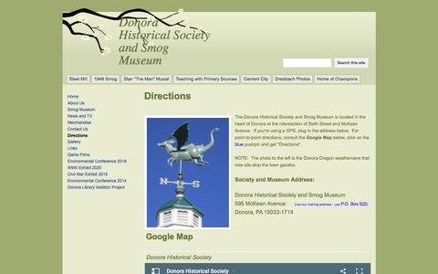 Screenshot of Maps & Directions Page google.com - Directions - Donora Historical Society and Smog Museum - captured July 6, 2017