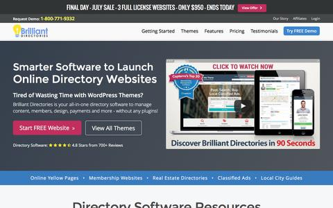Screenshot of Home Page brilliantdirectories.com - Best Directory Software - Website Directory Software, Themes & Templates - captured July 30, 2016