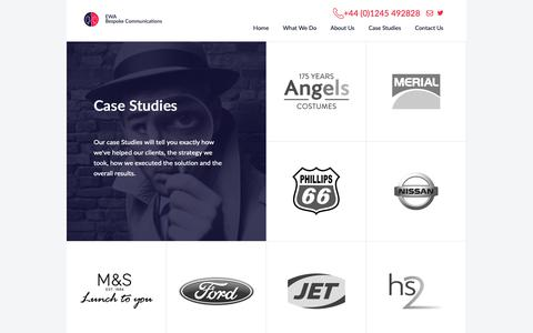 Screenshot of Case Studies Page ewagroup.com - Contact Centre Outsourcing, EWA Dedicated Contact Centre Solutions - captured Sept. 26, 2018
