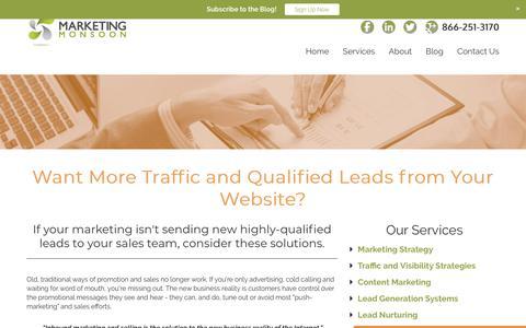 Screenshot of Services Page marketingmonsoon.com - Marketing Monsoon - Lead Generation, Sales Funnels, Marketing Strategy - captured Dec. 11, 2017