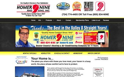 Screenshot of Home Page homer9.com - Furnace Repair & Duct Cleaning in Beaver Valley, PA | Homer Nine & Sons, Inc. - captured Jan. 23, 2015