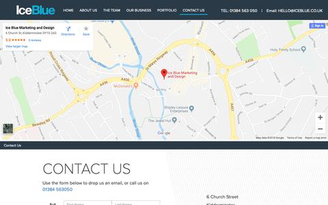 Screenshot of Contact Page iceblue.co.uk - Contact Us - IceBlue - captured Oct. 11, 2018