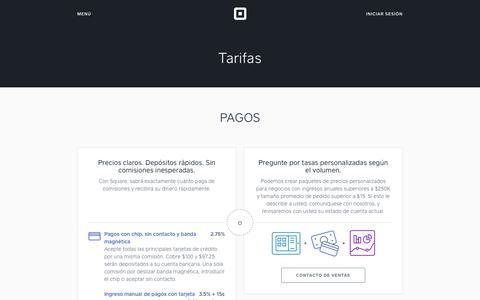 Screenshot of Pricing Page squareup.com - Bajas comisiones por procesar tarjetas de crédito - Tarifas Square - captured July 26, 2017