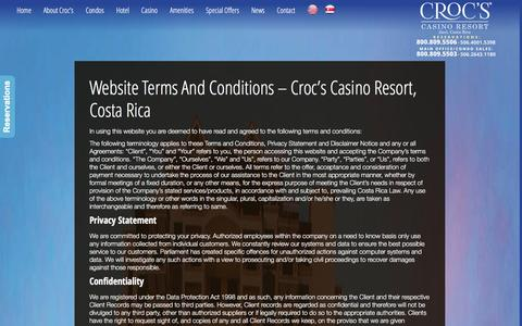 Screenshot of Terms Page crocscasinoresort.com - Website Terms and Conditions - Croc�s Casino Resort, Costa Rica | CrocsCasinoResort.com - captured Dec. 13, 2015