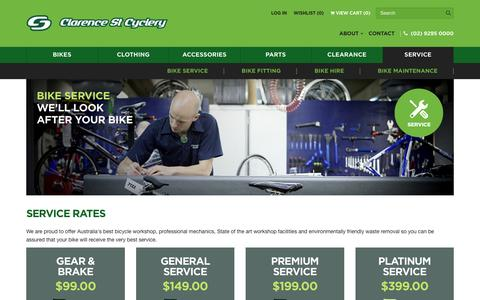 Screenshot of Services Page cyclery.com.au - Service – Clarence St Cyclery - captured Jan. 28, 2016