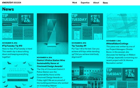 Screenshot of Press Page emersiondesign.com - News | Emersion Design - captured Nov. 15, 2016