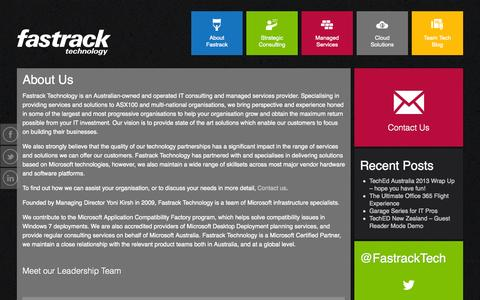 Screenshot of About Page fastracktechnology.com.au - About Us | Fastrack Technology - captured Oct. 5, 2014