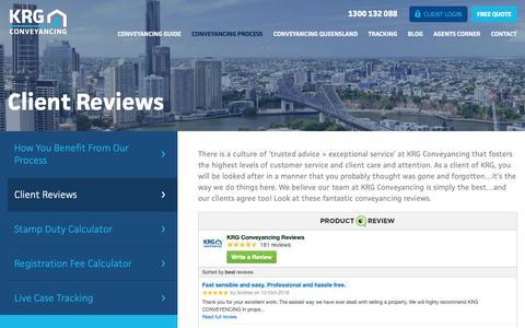 Screenshot of Testimonials Page krg.com.au - Brisbane & Gold Coast Conveyancing Client Reviews | KRG Conveyancing - captured Oct. 14, 2018