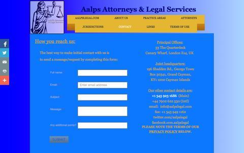 Screenshot of Contact Page aalpslegal.com - Contact - captured Oct. 4, 2014