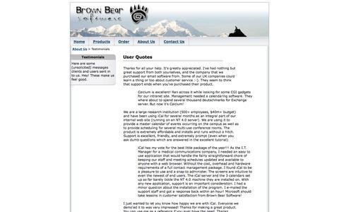 Screenshot of Testimonials Page brownbearsw.com - Brown Bear Software - Testimonials - captured June 30, 2017