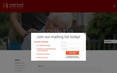 Screenshot of Contact Page elderconsult.com - Contact ElderConsult Geriatric Medicine — ElderConsult - captured July 23, 2017