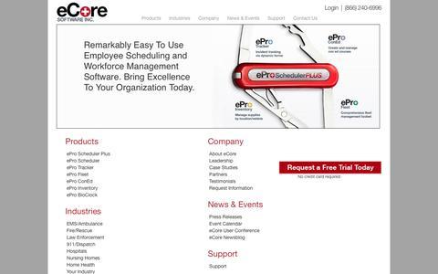 Screenshot of Site Map Page ecoresoftware.com - Template - captured Feb. 2, 2016